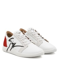 Giuseppe Zanotti Gz G Runner White Calfskin Low-top Sneaker With Black Logo - Best Deal Online