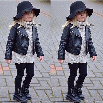 2017 New Fashion Ins Spring and Autumn and the Wind PU Leather Leather Coat Baby Boys and Girls Short Children Jacket