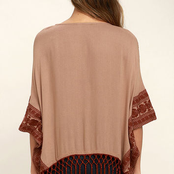 Tanzania Terra Cotta Embroidered Poncho Top