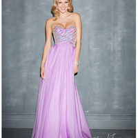 Night Moves by Allure 2014 Prom Dresses - Lilac Chiffon & Beaded Wrapped Strapless Prom Gown