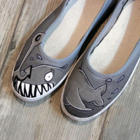 Hand Painted Shoes, Women Shoes, Unique Custom Made High Quality Shoes - a Shark Painting