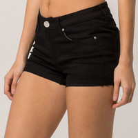 RSQ Malibu Cuff Womens Black Denim Shorts