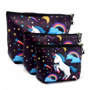 3 Sets Of Suits Unicorn Flamingo Cosmetic Bag Large Size Makeup Bag Necessaire Travel Bags Make Up Bag Toiletry Kit