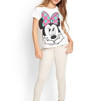 FOREVER 21 GIRLS Minnie Mouse Knit Tee (Kids) Cream/Black