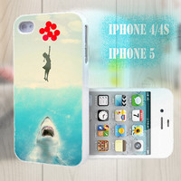 unique iphone case, i phone 4 4s 5 case,cool cute iphone4 iphone4s 5 case,stylish plastic rubber cases cover, funny shark  girl balloon p985