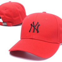 Red NY Embroidered Adjustable Baseball Cap Hats
