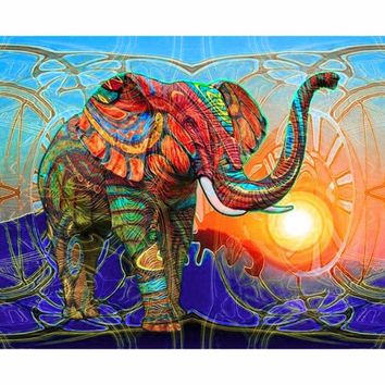 5D DIY Elephant Animal Diamond Embroidery Painting Cross Stitch Kit Home Decor