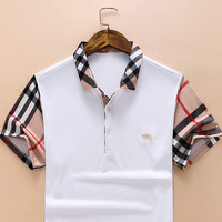 Burberry Fahsion Men Lapel Plaid shirt B-A00FS-GJ White
