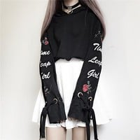 Harajuku Hoodies Women Cute Bow Tie Rose Letters Embroidery Short Pullover For Kawaii Girls Autumn Clothes