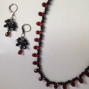 Renaissance, necklace set, Red Garnet, Black Spinel, gemstone jewelry, red & black jewelry, elegant jewelry, oxidized sterling, unique look