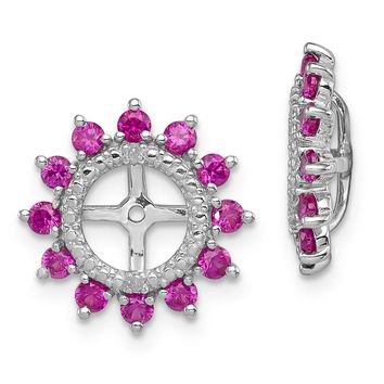 925 Sterling Silver Rhodium Diamond and Created Ruby Earring Jacket