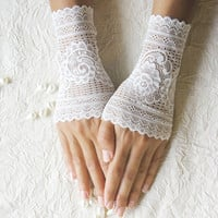 Delicate white lace gloves cuffs mittens lace gloves 30% OFF CHRISTMAS SALE