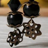 Steampunk Brass Flower and Jet Black Dangles  by MozieandMario