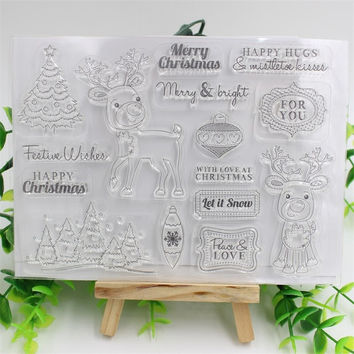 Christmas Deer Transparent Clear Silicone Stamp Seal for DIY scrapbooking photo album Decorative clear stamp sheets