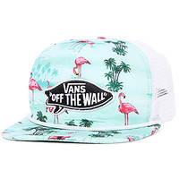 The Pink Flamingo Trucker Hat in Blue Atoll Flamingo