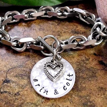 Personalized Jewelry, Hand Stamped Jewelry, Sweetheart Bracelet, Wedding Bracelet, Chunky Stainless Steel