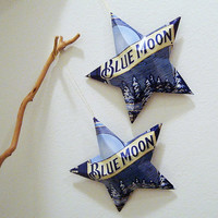Blue Moon Beer Stars, Christmas Ornaments, Upcycled Aluminum Can, Recycled, Belgian-style witbier