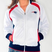 New England Patriots Women's NFL Gold Medal Full Zip White Track Jacket