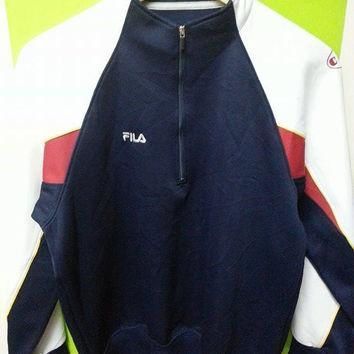 Sale Vintage 1980s FILA Indie Grunge Warm up Sweaters Jackets Women