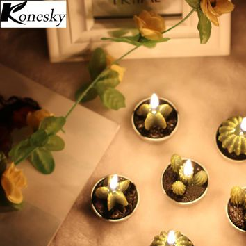 Konesky 6PCS/Set Home Decor Rare Mini Cactus Candle Table Tea Night Light Home Garden Simulation Plant Candle Decorative