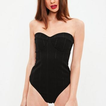 Missguided - Black Bandage Bandeau Bodysuit