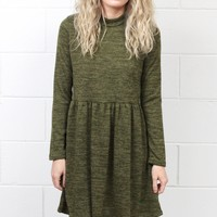 Long Sleeve Mock Neck Sweater Dress {Olive}