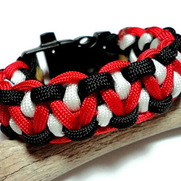 550 Paracord Survival Bracelet Red White Black Dragons Tooth Weave Built in Whistle Handmade USA