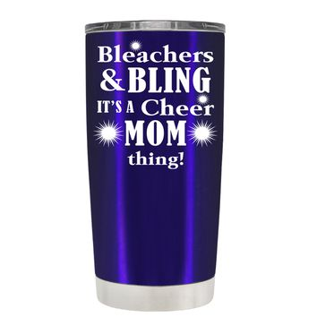 Bleachers & Bling on Intense Blue 20 oz Tumbler Cup