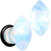 0 Gauge White Opalite Faceted Single Flare Plug Set