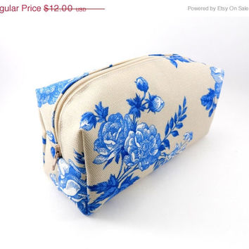 WEEKEND SALE Vintage Blue Rose Makeup Bag, Cosmetics,  Pencil Case, Under 15, Gadgets Case, On the Go or Travel, Large