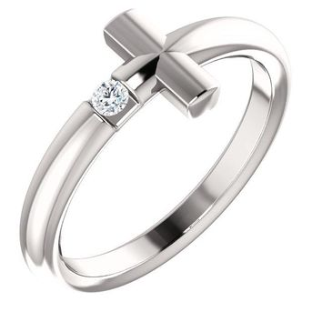 Solitaire Sideways Cross Ring