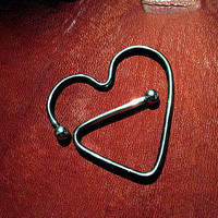 Blackened Heart Sterling Nipple Ornament