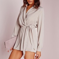 Missguided - Wrap Front Shirt Romper Stone