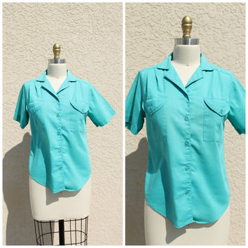 Vintage 70s Turquoise Blue Button Up Blouse// Camp Shirt// SOFT Shirt Top// Collared Shirt Top// Rockabilly Shirt