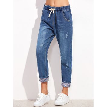 Blue Mid Waist Crop Tapered Jeans
