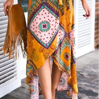 Retro Boho Print Bandage Irregular Long Skirt