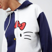 Hello Kitty x ASOS Cropped Color Block Hoodie at asos.com