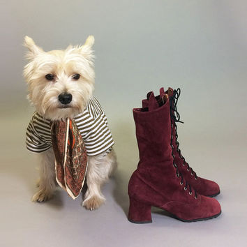 Vintage Deadstock PENNY LANE Ruby Purple Red Lace Up Grommet Suede Bohemian Witchy Boots || Size 5.5