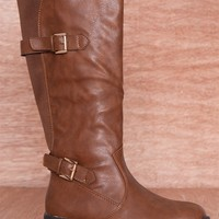 Refresh Midnight Ride Two Buckle Faux Leather Riding Boots Dason-02 - Cognac