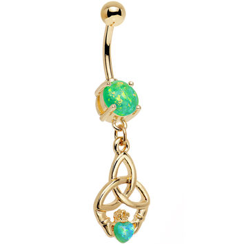 Green Faux Opal Gold Anodized Trinity Claddagh Dangle Belly Ring
