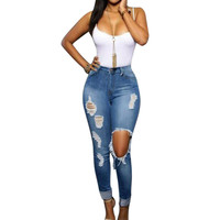 Distressed Slim Ripped Jeans