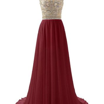 Wedtrend Women's Beaded Prom Dress Wedding Dress(Free Rhinestones Earrings) 2 Burgundy WT10169