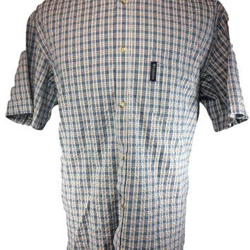 Columbia Short Sleeve Casual Shirt Seersucker Plaid Blue Orange Cotton Button Down - XL