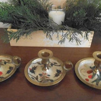 3 vintage Brass and Enamel Christmas Candle holders ~ Chamberstick ~ French Holiday Taper holders