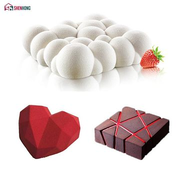 SHENHONG 3PCS Art Cake Mould Pan 3D Grid Block Clouds Diamond Heart Silicone Mold Mousse Silikonowe Chocolate Moule Baking