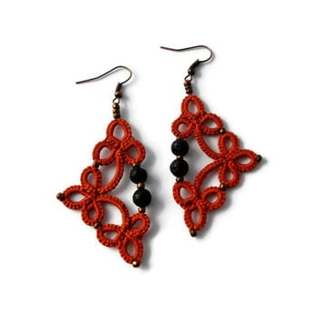 Tatted earrings with lava beads in orange//Tatted lace earrings//Tatted beaded earrings//Frivolite