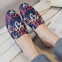 GUCCI Popular Women Leisure Blue Letter Print Cute Slippers Shoes