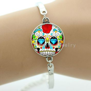 Colorful sugar skull bracelet hipster red floral roses charm skeleton jewelry Day of the Dead Halloween jewellery gift men T814