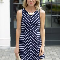 Cute Striped Dress-Navy Stretch Knit Skater Dress - $75.00 | Hand In Pocket Boutique