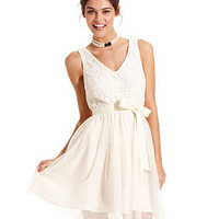 Jump Juniors Dress, Sleeveless Belted Lace Tulle - Dresses - Women - Macy's